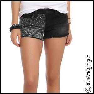 LOVEsick Black jean & bandana print shorts